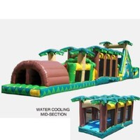 Kidwise Tropical Obstacle Bounce House with Water Midsection (Commercial Grade)