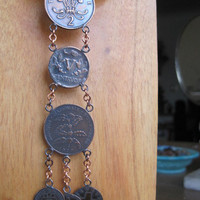 International Copper Coin Necklace Britain - Columbia - Rwanda - Latvia - Switzerland - Belgium