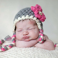 Hot Pink Gray White Earflap Flower Beanie by BeautifulPhotoProps