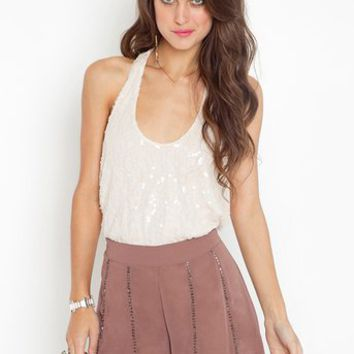 Dancer Sequin Tank - Cream and beaded shorts