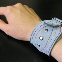 Leather bracelet, Blue color, Leather cuff for men and women