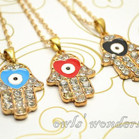 Hamsa necklace, hand of Fatima necklace, hand with love heart eye Hamsa Jewelry
