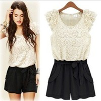 WHITE and BLACK SHORTS ROMPER from ClothLess
