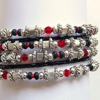 Beaded Cuff Bracelet in Silver, Black and Red