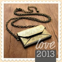 Rustic Brass Chain Necklace  with Envelope Locket Pendant, the Love Letter