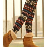 FREE SHIPPING Snow Multi-Colored Knitting Blends One Size Elastic Leggings TA135