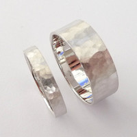Wedding rings set white gold wedding bands men and women flat hammered sandblast mat finish