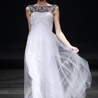 Silver Wrap Evening or Wedding Dress