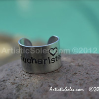Custom stamped, adjustable ring - Eucharisteo Design - heart