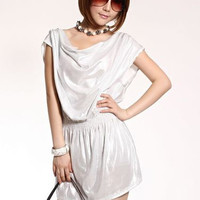 Modern Bright Juniors Silver Pile Collar Skinny Dresses : Wholesaleclothing4u.com