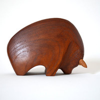 Danish Modern Carved Teak Bull Sculpture - Signed