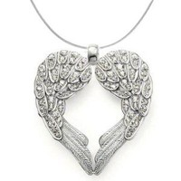925 Sterling Silver Angel Heart Guardian Angel Wing Pendant Necklace with Cubic Zirconia Accents: Jewelry: Amazon.com