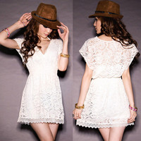 Korean See through Sweet Japan Lace Overall Mini Dresses Tunic