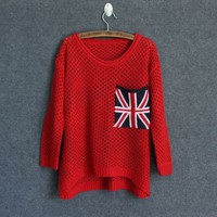 Red Cut Loose Flag Long Sleeve Pullover Sweater from Showmall