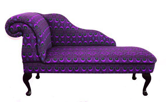Purple Feather Print Chaise Longue Chair by ZEDHEAD on Etsy
