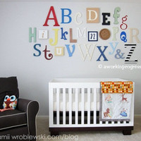 Alphabet Set Wooden Letters Alphabet Wall by aworkinprogressgifts