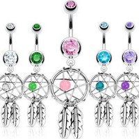 5 Color Dream Catcher Woven Star Design-Bead &amp; Feathers Fancy Navel Ring 14G