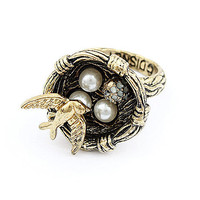 Pearl Eggs Birds Nest - Metal Fashion Rings