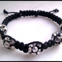 Shamballa Inspired Crystal Rhinestone and Black Macrame Cord Bracelet
