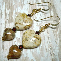 Picture Jasper and Pietersite Heart w Swarovski Mocca Crystal Earrings