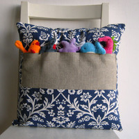 Nautical World -16 x 16 Cushion Cover with Pockets and Finger Puppets