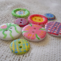Painted Buttons, Whimsical Buttons for Sewing Crafts Card Making or Altered Art