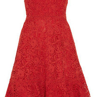 Valentino | Strapless cotton-macramé lace dress | NET-A-PORTER.COM