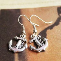 Vintage Silver Anchor Drop Earrings at Cheap Vintage Jewelry Onine Store Gofavor