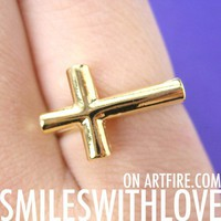 SALE - Adjustable Simple Cross Ring in Gold