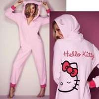 "AVON LADIES/GIRLS PINK HELLO KITTY ""Onesuit"" BOW SNUGGLE SUIT PYJAMAS ""NEW"""