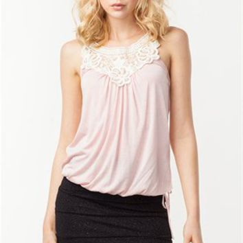 A'GACI Rhinestone and Pearl Elastic Bottom Tank - New Arrivals