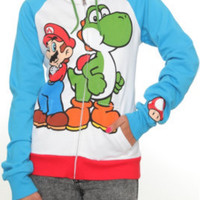 Nintendo Super Mario Bros. Mario And Yoshi Zip Girls Hoodie