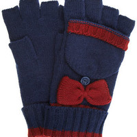 Navy bow fingerless gloves - Gloves - Accessories - Dorothy Perkins
