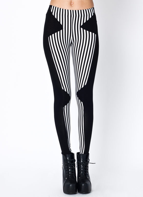 striped-contrast-leggings BLACKWHITE - GoJane.com
