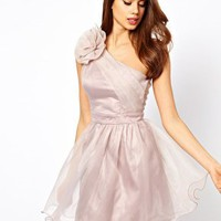 Lipsy Tutu Dress with Corsage Shoulder Detail at asos.com