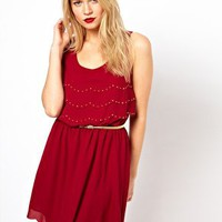 Oasis Studded Scallop Edge Dress at asos.com