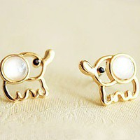 Lovely Beige Opal Elephant Stud Earrings,http://www.looback.com/lovely-beige-opal-elephant-stud-earrings.html from looback