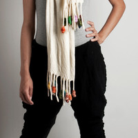 Winter scarf wool felt with fringes and multicolored felted tassels or pompoms