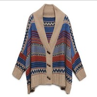 Geometric Oversized Print Wrap Sweater from from: Us to: You