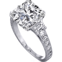 Engagement Ring - Cushion Diamond Engagement Ring with Trapezoids 0.80 tcw in 14K White Gold - ES875CUWG