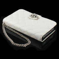 New Card Wallet Crystal Diamond Leather Case Cover For Apple iphone 4 4G 4S Whit