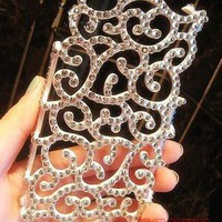 3D handmade bling hollowed-out diamond crystal case cover for iPhone4 4s Llk