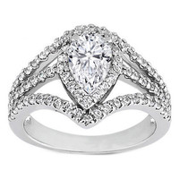 Engagement Ring - Pear Diamond Diagonal Halo Engagement Ring Three Row Shank 0.64 tcw. - ES819PS