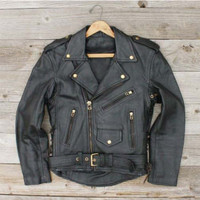 Vintage Leather Motorcycle Jacket, Sweet Vintage Rugged Clothing