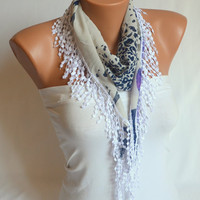 Chiffon scarf  with white lace trim - winter scarf chunky scarf  valentines day gifts birthday gifts