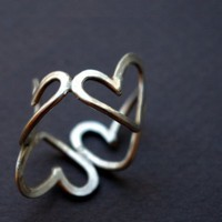 Sterling Silver Heart Ring by Nafsika on Etsy