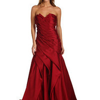ABS Allen Schwartz Penelope Diagonal Multi Tucked Strapless Gown at Zappos.com