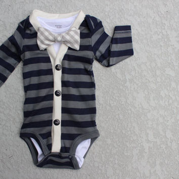 Cardigan and Bow Tie Onesuit Set - Navy and Grey Gingham - Trendy Baby Boy