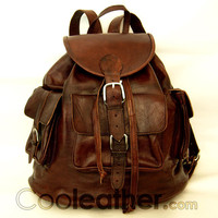 "MyMate3 Backpack -  Large All Leather Backpack 14"" laptop Leather Rucksack"