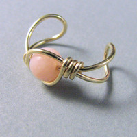 Ear Cuff 14k Gold Filled Pink Peruvian Opal by WireYourWorld